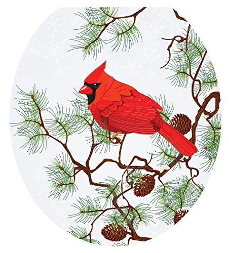 Toilet Tattoos Toilet Seat  Cover Decal, Winter Cardinal,...