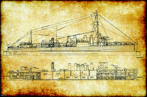 Retro Vintage US Navy Ship Clemson Class Destroyer Engineering Technical Drawing Schematic Home Decor Print Poster 24x36 ()