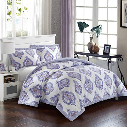 Lux Bed Cotton 3-Piece Bergen Palace Lavender Duvet Cover Set 3 Piece Queen, Full - Queen, Full