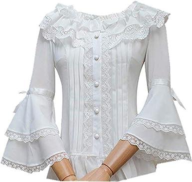 Double Villages Falda Plisada con Volados de Gasa Blusa para Mujer Blusa Lolita Victoriana Retro Blusa (L): Amazon.es: Ropa y accesorios