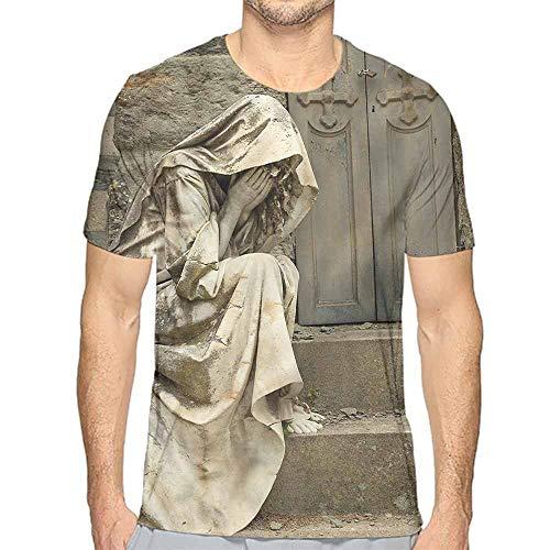 Jinguizi Mens t Shirt Sculptures,Grief Cemetery Woman HD Print t Shirt M