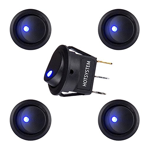 Gold Round Four Prong - HOTSYSTEM DC12V 20A Round Rocker Toggle Switch ON-OFF Control SPST LED Illuminated 3Pin Triangle Plug for Car Motorcycle Boat Marine Truck Trailer Auto and More (Blue,5-Pack)