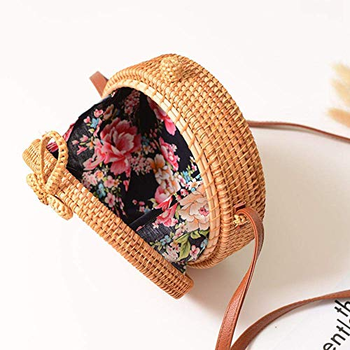 FOONEE Handwoven Round Rattan Bag, Straw Shoulder Bag Straw Handbag Rattan Boho Purse with Shoulder Leather Strap for Women 7.9 * 3.2in
