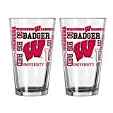 NCAA Wisconsin Badgers Pint Glass, 16-ounce, 2-Pack