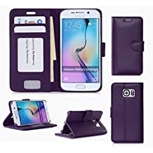 Samsung Galaxy S6 Edge Wallet Case Cover, FYY® [Executive Wallet Kickstand] Premium Leather Flip Case Stand Cover with Card Slots and Note Holder for Samsung Galaxy S6 Edge Purple