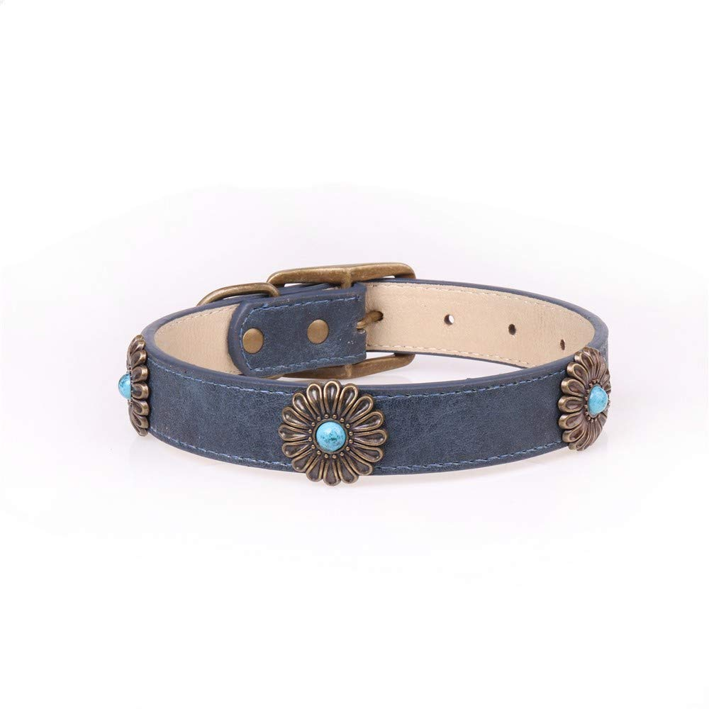 bluee,2.5×35-45cm Pet Online Pet Supplies Bronze Daisy Decorative Dog Collar,bluee,2.5×35-45cm