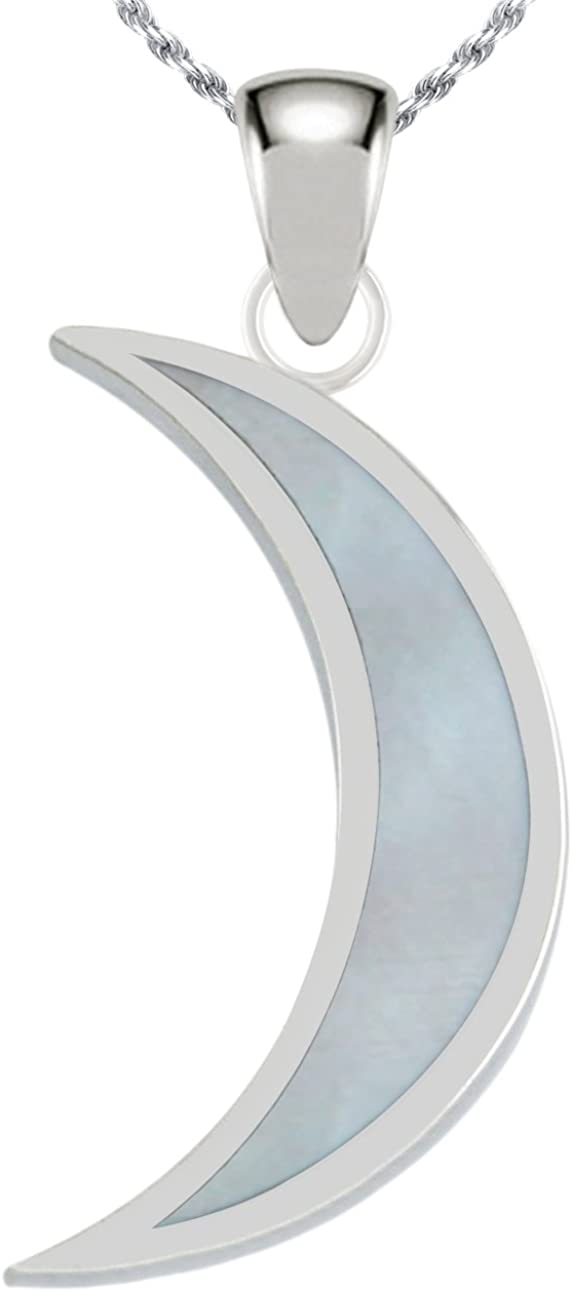 US Jewels And Gems 0.925 Sterling Silver Simulated Mother of Pearl Magick Crescent Moon Pendant Necklace