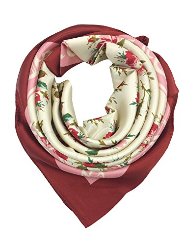 YOUR SMILE Silk Like Scarf Women's Fashion Pattern Large Square Satin Headscarf,Flower,Pink