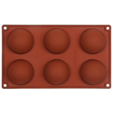 Moldes para magdalenas con 6 cavidades de media esfera, para repostería, de