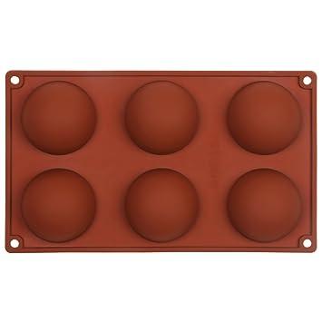 Moldes para magdalenas con 6 cavidades de media esfera, para repostería, de silicona, para hornear, también para chocolate o jabón: Amazon.es: Hogar
