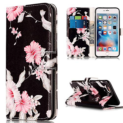 iPhone 6S Wallet Case, iPhone 6S Case, iPhone 6 Case, Voanice Premium PU Leather with Card Slots Holder Stand Shockproof Purse Flip Cover Protective for iPhone 6 /6S 4.7 Inch &Stylus-Black Pink Flower ()