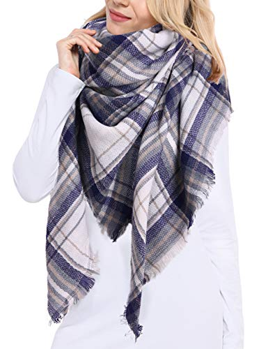Bess Bridal Women#039s Plaid Blanket Winter Scarf Warm Cozy Tartan Wrap Oversized Shawl Cape One Size White Blue Plaid