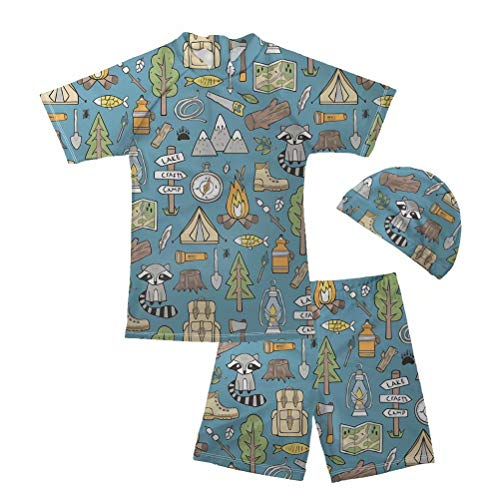 FOR U DESIGNS Kids Boys 2PCS Swimwear Set Raccoon Printed Sun Protective Short Sleeve Swimsuit with Cap 11-12 Years