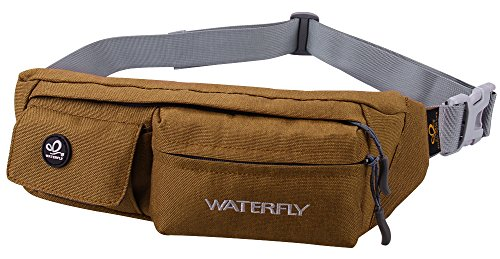 WATERFLY Slim Soft Polyester Water Resistant Waist Bag Pack for Man Women Outdoors Running Climbing Carrying iPhone 5 6 Plus Samsung S5 S6 (Bag Carry Fashion)