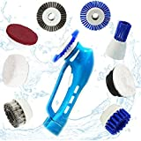 bathroom electric scrubber - Household Power Scrubber, Car Polish Kit ,Cordless Electric Cleaning Kit with Rechargeable Battery, 7Pcs Replacement Brushes and 1Pcs Scouring Pad Multi Purpose for Shoes, Bathroom and Kitchen