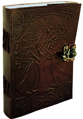 Genuine Handmade Leather Journal Wolf Embossed Diary for Men Women Gift Travel Office Journal | 200 Pages 5 x 7 Inches (Tree Of Life Journal Lock)