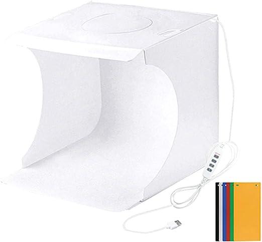 Leobtain Caja de luz fotográfica portátil, Conjunto de Caja de Estudio fotográfico con luz de Anillo LED Pequeño Equipo de Accesorios de fotografía Kit de Carpa de Estudio: Amazon.es: Hogar