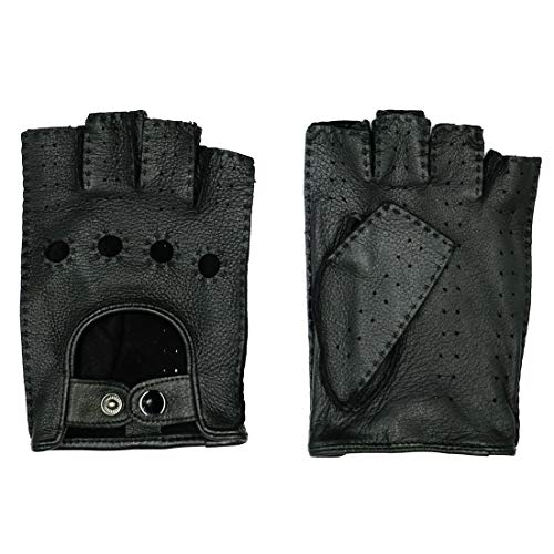 Harssidanzar Hand Made Mens Fingerless Leather Driving Gloves Deerskin Unlined Half Finger, Black, - Deerskin Gloves Driving
