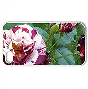 Beautiful Roses and Buds - Case Cover for iPhone 4 and 4s (Flowers Series, Watercolor style, White)