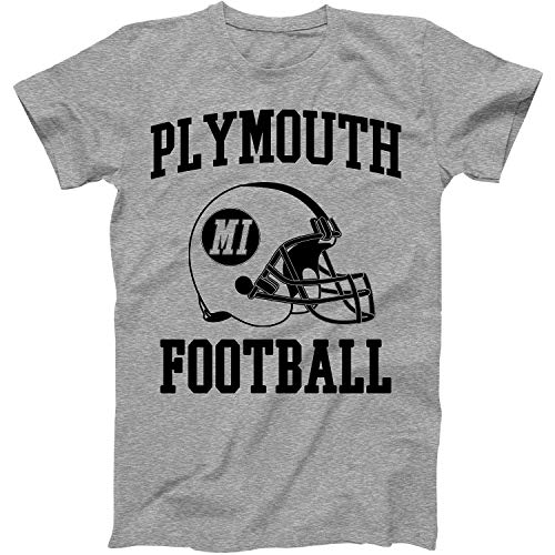 Vintage Football City Plymouth Shirt for State Michigan with MI on Retro Helmet Style Grey Size XXX-Large