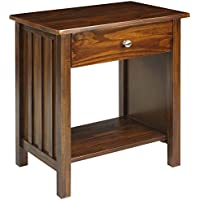 Casual Home Night Owl Nightstand with 4 USB Ports (Warm Brown)