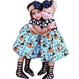 Kehen Toddler Girls Halloween Pumpkin Printed Dots Ruffle Costume Dress Blue