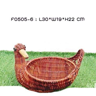 Wicker Duck Rattan Basket Figure Décor Vintage Style, Design Basket for Egg Easter or Spa Product-size (Wicker Basket Duck)