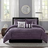 Grey and Plum Bedding Sets Madison Park Hampton Duvet Cover Full/Queen Size - Purple, Jacquard Pleated Stripes Duvet Cover Set – 6 Piece – Ultra Soft Microfiber Light Weight Bed Comforter Covers