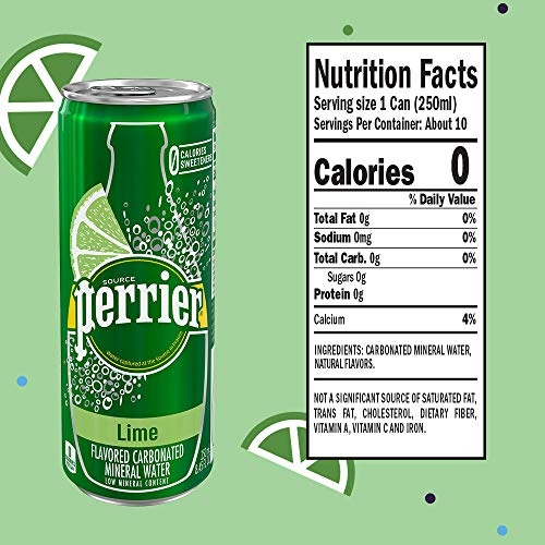 Perrier Lime Flavored Carbonated Mineral Water 8 45 Fl Oz