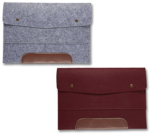 Wool Felt File Folder - 2 Pack of 13 Inch Laptop Briefcase Portable Holder or A4 Document Paper Organizer Portfolio Bag with Snap Buttons and Brown Faux Leather Accent in Gray and Burgundy