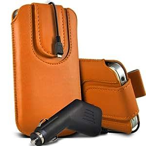Samsung Galaxy Pocket Neo S55310 premium protección PU botón magnético ficha de extracción Slip espinal en bolsa de la cubierta de piel de bolsillo rápido con 12v USB Micro en Car Charger naranja por Spyrox