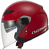 LS2 Helmets 569 Track Solid Open Face Motorcycle Helmet with Sunshield (Red, X-Large)