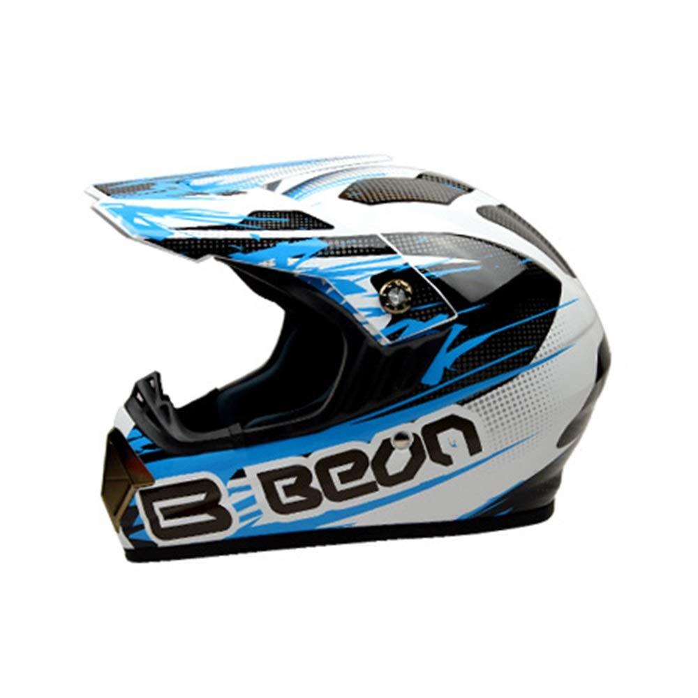 HYH ヘルメットオフロードヘルメットモトクロスヘルメット人格オートバイヘルメットクロスカントリーヘルメット - ブラック - ホワイト - ブルー - ラージ いい人生 (Size : L) Large  B07RYPJ9JC