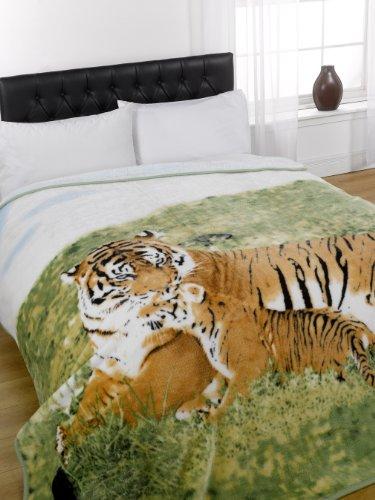 Mink Faux Fur Throw Fleece Blanket - Tiger & Cub - 150 x 200cm