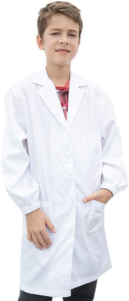 Cappotto Medico Cappotto Ambito Medico con Bottoni di Sicurezza Abito in Cotone Bianco Unisex per Bambini Icertag Camice da Laboratorio per Bambini