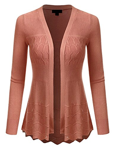 MAYSIX APPAREL Plus Size Long Sleeve Lightweight Crochet Knit Sweater Open Front Cardigan For Women CORALHAZE 2XL - Cardigan Sweater Dress