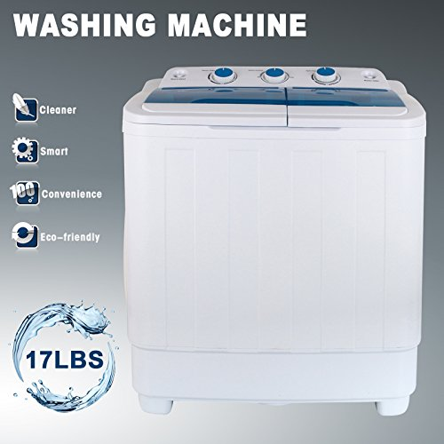 KUPPET Portable Mini Compact Twin Tub Washing Machine Washer Spin Dryer 17Ibs Capacity