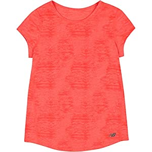 New Balance Little Girls' Short Sleeve Performance Tees, Sunrise Heather, 6X