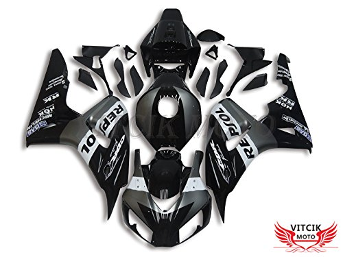 (VITCIK (Fairing Kits Fit for Honda CBR1000RR 2006 2007 CBR1000 RR 06 07) Plastic ABS Injection Mold Complete Motorcycle Body Aftermarket Bodywork Frame (Black) A102)