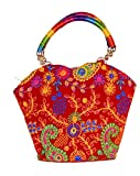 Indian Flower Pot Desiged Bag with Attractive Handicraft Thread Work for Female (Red)