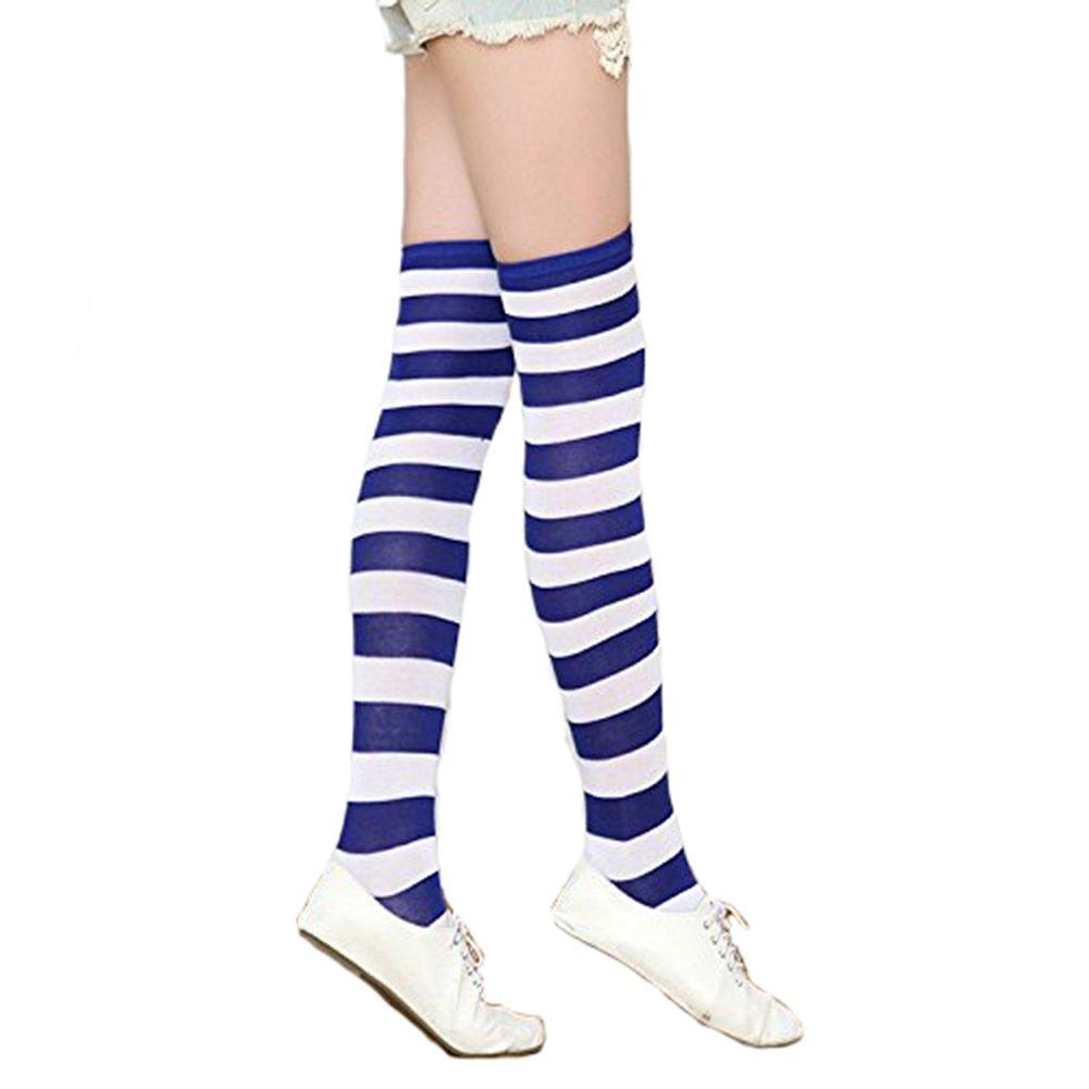 Cosanter Femme Chaussettes hautes Extensible Long Socks Rayées Mi-Bas en  Coton 605c3917486