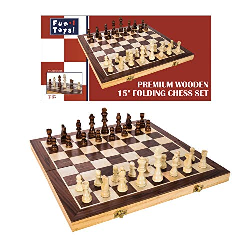 Fun+1 Toys! Classic Wooden Chess Set - Wooden Chess Board and Staunton Style Wood Pieces - Board Game Set for Adults and Kids - 15 x 15 Inches (Beginning Chess Board)