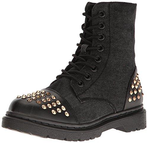 Gia Mia Dancewear Women's Rock Star Studded Boot Combat, Black, 6 Medium US