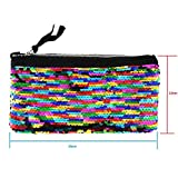 Clearance! Women Make-up Bag Double Color Sequins Coin Cards Holder Purse Wallet Pencil Pouch (F)