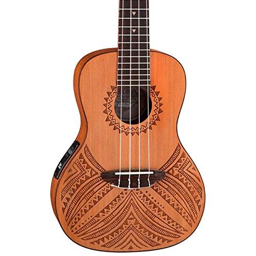 (Luna Tapa Solid Cedar Acoustic/Electric Concert Ukulele with Preamp & Gig Bag, Satin Natural)
