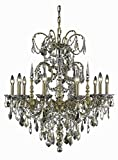 Athena Collection 10-Light French Gold Fix With Golden Teak Smoky Swarovski Strass Crystal