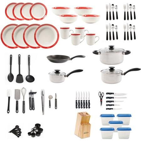 Large Kitchen Combo Set. This 83 piece kitshen starter set has everything you need. Stainless steel cookware, dinnerware, flatware, storage containers and gadgets for stirring, flipping and chopping.