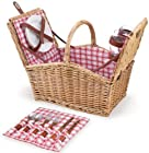 Picnic Time 'Piccadilly' Willow Picnic Basket with Service for Two, Red/White Plaid
