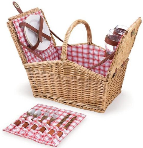 Picnic Time Piccadilly Willow Picnic Basket for Two People, with Plates, Wine Glasses, Cutlery, and Corkscrew - Red/White - 2 Two Basket