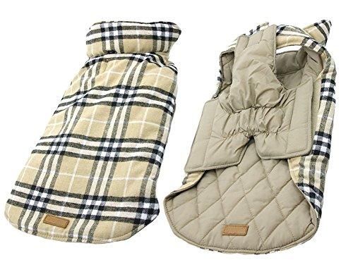iToolai Dog Coats Winter for Small Dogs Boy Girl Plaid Reversible Waterproof Dog Jackets(Beige, (Princess Dog Jacket)